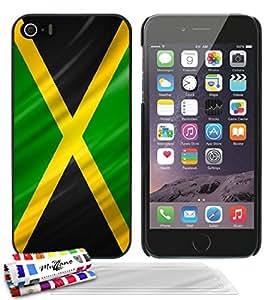 """Carcasa Rigida Ultra-Slim APPLE IPHONE 5S / IPHONE SE de exclusivo motivo [Jamaica Bandera] [Negra] de MUZZANO  + 3 Pelliculas de Pantalla """"UltraClear"""" + ESTILETE y PAÑO MUZZANO REGALADOS - La Protección Antigolpes ULTIMA, ELEGANTE Y DURADERA para su APPLE IPHONE 5S / IPHONE SE"""