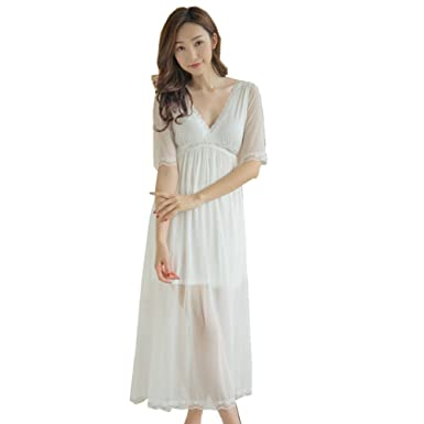 856bdd78da Flaydigo Women s Long Royal Vintage Nightgown Lace Mesh V Neck Sleepwear  Pink Nightdress (S(