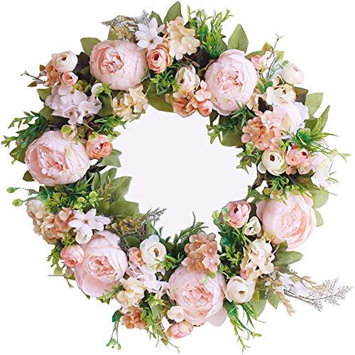 HEBE 20 Inch Large Pink Peony Flower Wreath for Front Door Artificial Floral Silk Peonies with Hydrangeas Door Wreath for Indoor Outdoor Wedding Window Wall Home Decor