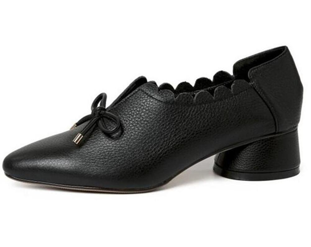 Zapatos de mujer piel genuina Cerrado-Toe Mocasines Cuello de flor plano del arco Tamaño 35 a 39 , Black , EU37 EU37|Black