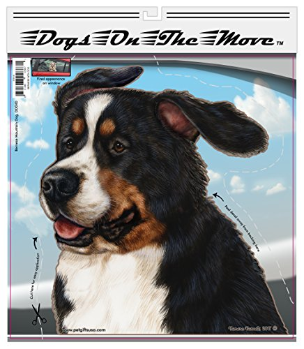 Bernese Mountain Dog - Pet Gifts Window Vinyl Decal, Dogs On The Move, Sticker Clings to Glass surfaces, Cars Trucks & SUVs, for Doggy Lovers!