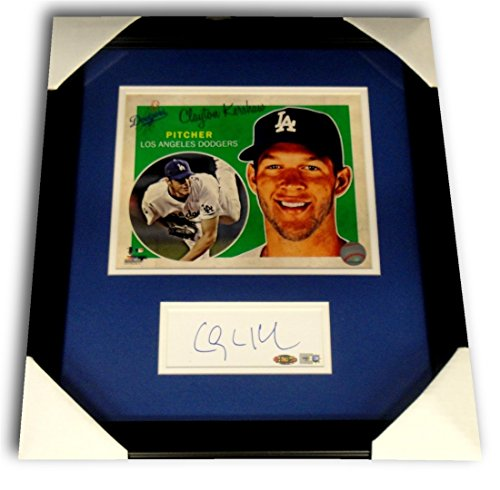 - Clayton Kershaw Signed Auto 2.5x6 Large Cut Chit Framed W/ 8x10 Photo Steiner 30