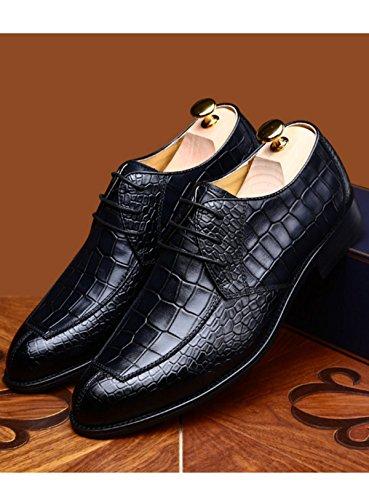 GRRONG Hommes Chaussures Cuir Chaussures Cravate En Hommes Et Chaussures Printemps Populaires Chaussures Crocodile Formel Automne Black Casual Affaires gZxgwqvr