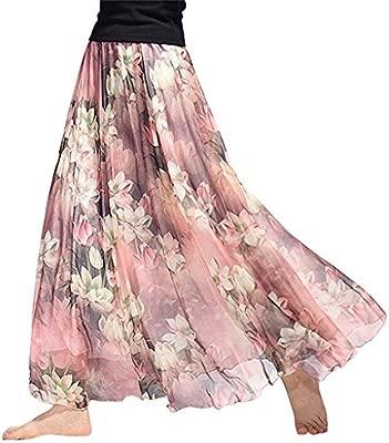 GONO Vestido de Playa, Falda de Gasa, Falda de Flores, 62, Talla ...