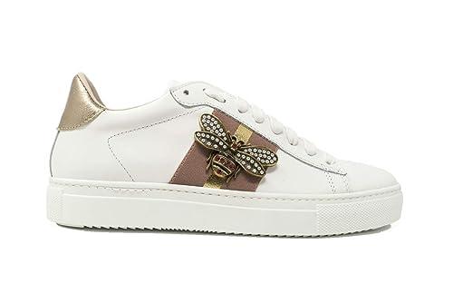c1009654c8f3b Stokton Scarpe da Donna 756-D Sneakers Sportive Casual in Pelle Ginnastica  da Tennis Bianco