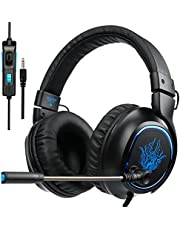 Auriculares PS4, SADES R5 Xbox One Mic Gaming Headset Auriculares para juegos con micrófono para Nueva Xbox one PS4 Laptop Mac Tablet iPhone iPad iPod (Negro)