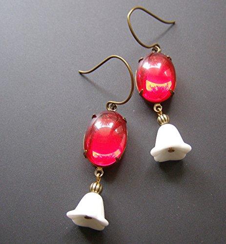 Bell Flower Earrings Estate Style Vintage Siam Ruby Red White Tulip Flower Dangle - Flower Tulip Bell