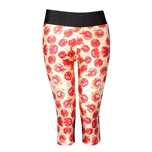 Women's 3D Diamond Pizza Garfield Printed High Waist Capri Tights Leggings Black