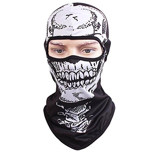 TClian Skull Mask Balaclava Rib Fabrics Skeleton Ghost Headwear Bandana Motorcycle Cycling Ski Full Face Masks Military Tactical Airsoft Paintball Masks Cosplay Costume Halloween Face Mask (Halloween Bandana Face Paint)