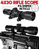 TRINITY 4x30 Rifle Scope P4 Sniper Reticle for Tippmann Cronus Paintball Gun Black, Paintball Gun Scope, Paintball Gun Sight Black, Tippmann Paintball Gun Scope Black