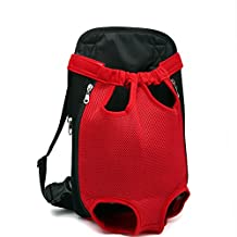 Pet Dog Backpack Carrier Legs Out Front-facing Dog Carrier Hands-free Adjustable for Walking, Hiking, Bike and Motorcycle (XL, RED)