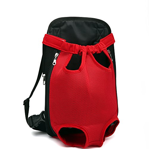 Geartist PB202 Pet Dog Cat Front Carrier Bag, Puppy Tote Holder, Adjustable Legs Out Backpack, Canvas Mesh Cloth Pup Pack, Easy-Fit For Traveling Hiking Camping (M, red)