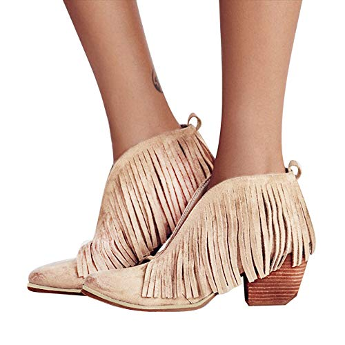 Tassel Ankle Bootie Baigoods Women Ladies Shoes Fashion Ankle Solid Fringe Bootie Short Boots Khaki