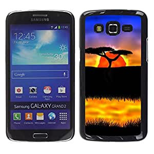 LECELL -- Funda protectora / Cubierta / Piel For Samsung Galaxy Grand 2 SM-G7102 SM-G7105 -- The African Safari Sunset --