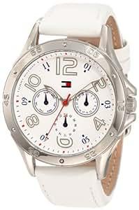 Tommy Hilfiger Women's 1781177 White Multi-Eye Dial Leather Strap Watch