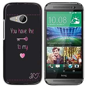 Caucho caso de Shell duro de la cubierta de accesorios de protección BY RAYDREAMMM - HTC ONE MINI 2 / M8 MINI - Have Key My Heart Lock Text Valentines