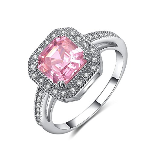Castillna Sterling Silver Asscher Cut Created Pink Sapphire Engagement (Sterling Silver Pink Stone Ring)