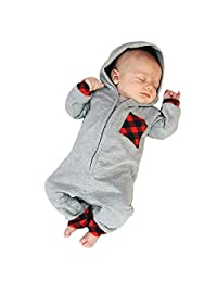 ANBOO Cute Newborn Baby Plaid Hooded Gray Romper Jumpsuit Outfits Clothes