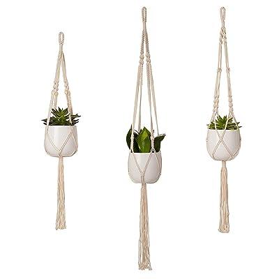 3 Packs Plant Hanger - Plant Wall Hangers Indoor Outdoor Plant Hangers for Hanging Baskets Ceiling Plant Hangers Macrame-Plant-Hanger-Cotton-Rope: Garden & Outdoor