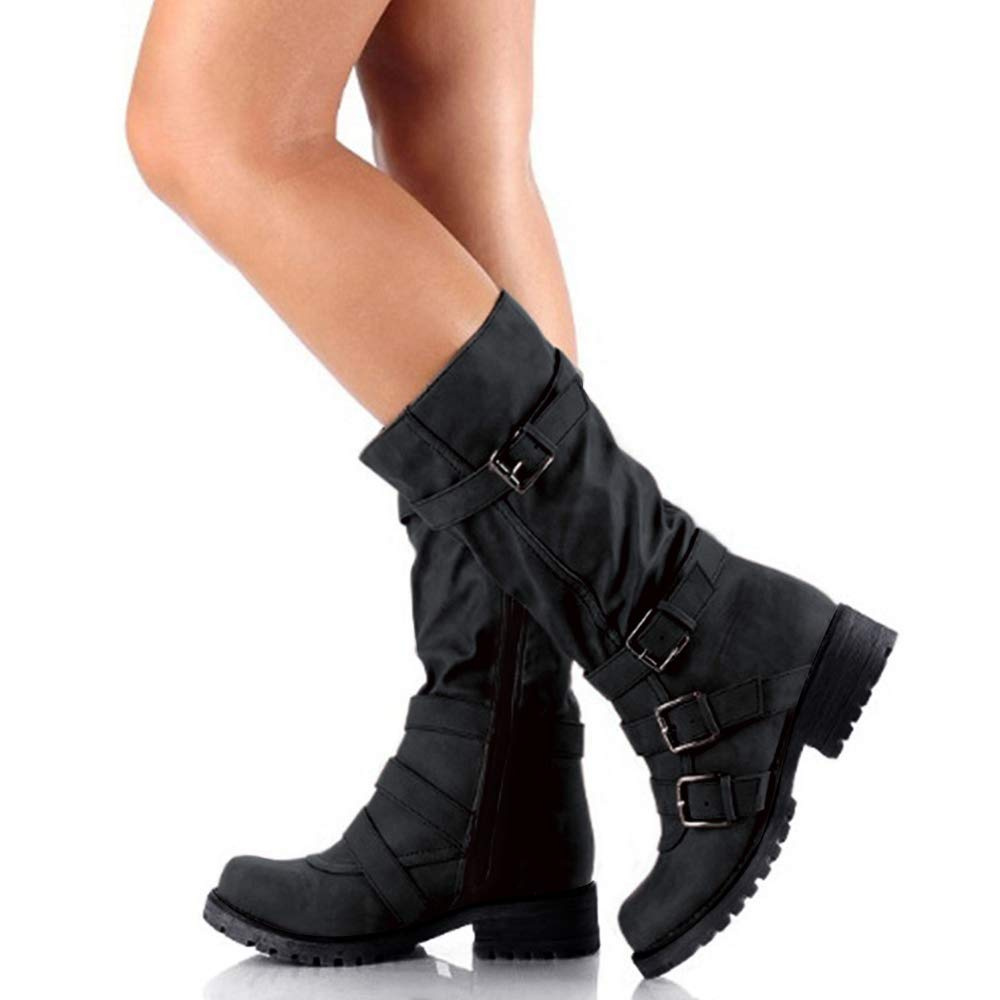 Hunleathy Women's Mid Calf Boots Buckles Combat Riding Boots Size 8 Black