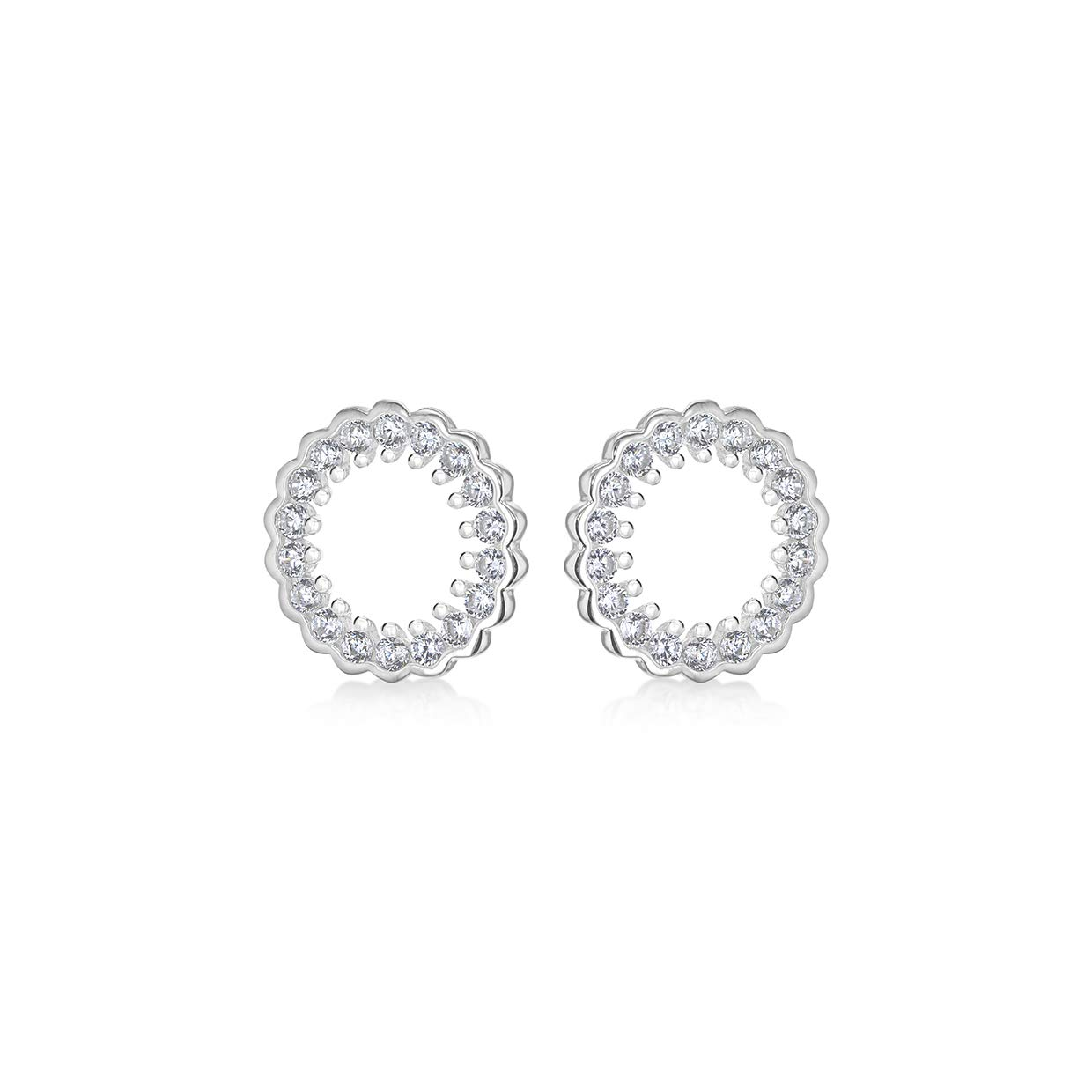 Sterling Silver Rhodium Plated Circle CZ 11mm Stud Earrings