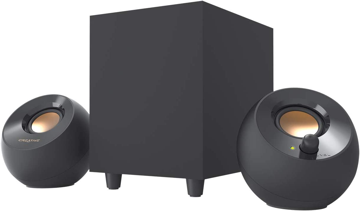 Creative Pebble Plus 2.1 USB-Powered Desktop Speakers with Powerful Down-Firing Subwoofer and Far-Field Drivers, Up to 8W RMS Total Power for Computer PCs and Laptops (Black)
