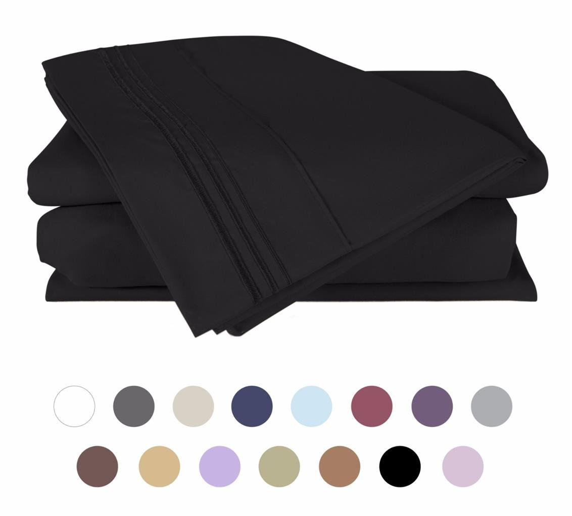 Bed Sheet Set (Queen - Black Hypoallergenic Bedding Set