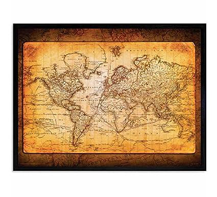 Amazon Com Culturenik World Map Antique Vintage Old Style