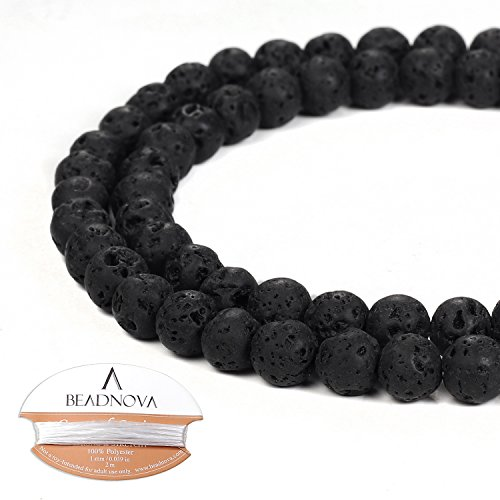 6mm Crystal Round Bead (BEADNOVA 6mm Natural Black Lava Rock Stone Gemstone Round Loose Volcanic Beads with Free Crystal Stretch Cord For Jewelry Making (60-62pcs))