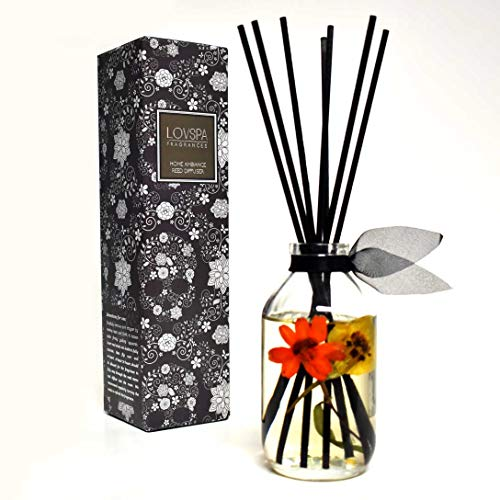 LOVSPA Dia De Los Muertos Reed Diffuser Oil Scented Sticks & Room Air Freshener | Sugar Skull Gift Box to Celebrate Day of The Dead | Florals, Vanilla & Citrus Fragrance | Halloween Decor Gift Idea!]()