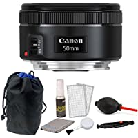 Canon EF 50mm f/1.8 STM Lens with Pouch + Cleaning Kit & Dust Blower For Canon Digital SLR Cameras
