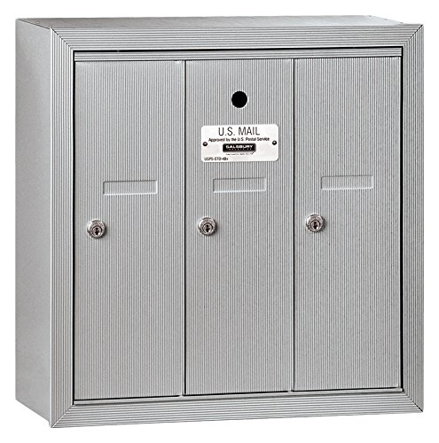 Salsbury Industries 3503ASU Surface Mounted Vertical Mailbox with 3 Doors and USPS Access, Aluminum Apartment Mailboxes