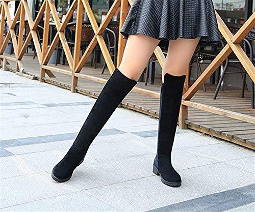 Piatto E 39 nero 37 Knee In Autunno Elastico Lady Boots Eu Stivali Alti Inverno Deed Casual Eu Con wXPqRxBa