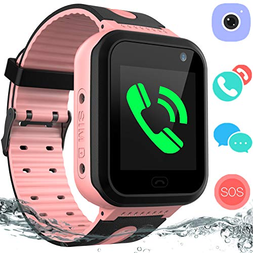 (Kids Waterproof Smart Watch Phone – GPS Tracker Smartwatch for Boys Girls Digital Watch with SOS Call Voice Chat Camera Game Flashlight Alarm Clock Children Sports Wrist Watch Birthday)