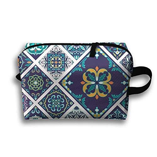 Mega Patchwork Pattern Portable Travel Case Cosmetic Storage Bags Coin Purse Pouch Portable Makeup Bag Pencil Holder