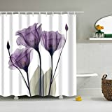 """GWELL Purple """"Lavender Hope"""" Shower Curtain Waterproof/Mildew Resistant Polyester Fabric Bathroom Curtain with 12 Hooks (70.86X78.74-Inch, #2)"""