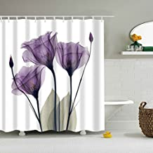 "GWELL Purple ""Lavender Hope"" Shower Curtain Waterproof/Mildew Resistant Polyester Fabric Bathroom Curtain with 12 Hooks (70.86X78.74-Inch, #2)"
