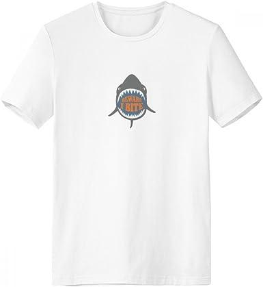 DIYthinker Cuidado con la mordedura de I tiburón Ilustrar con cuello redondo de la camiseta blanca de manga corta Comfort camisetas deportivas de regalos - Multi - XXL: Amazon.es: Ropa y accesorios