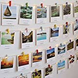 Photo Display Picture Hanging Frame Wall Room Decor, Picture Organizer Picture(20 cards) Hanging with Clips(30 clips), Christmas String Lights(19.7 feet)