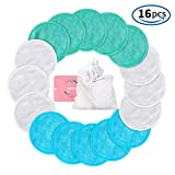 Makeup Remover Pads Reusable 16 Packs, Toner Pads, Facial Soft Cleansing Wipes, Washable Organic Bamboo Cotton Rounds with Laundry Bag (3 Colors) …