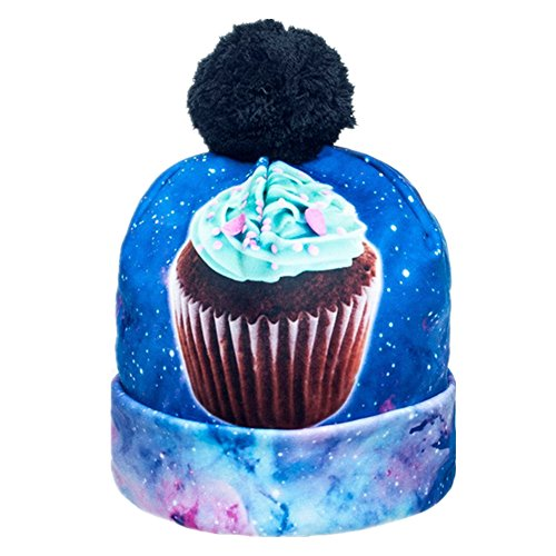 Print Winter Beanie - Women Men Fashion Winter 3D Beanies Cap Cup Hip Hop Sports Pom Pom Hat (Cup Cake)