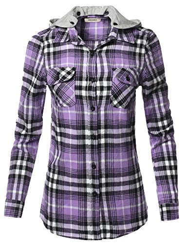Awesome21 Casual Flannel Roll-Up Sleeves Button-Down Shirts with Hoodie Lavender Black S