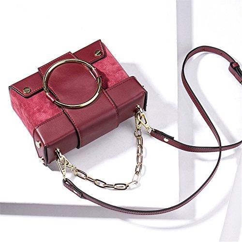 Rosso Sunbobo Magnetico Quadrata Borsa Messenger Anello Vino Retro Cuoio Semplice Fibbia Tracolla Opaca O7qw5Fa