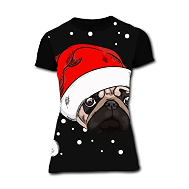 c21a1771 Image Unavailable. Image not available for. Color: Richelle shop Cute Pug  in Christmas Hat T-Shirts ...