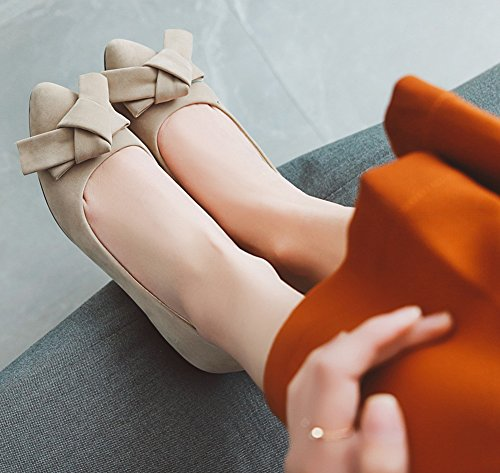 Ballerines Fille Classique Femme Noeud Plates Chaussures Cheville Beige Aisun 4HWpqTW