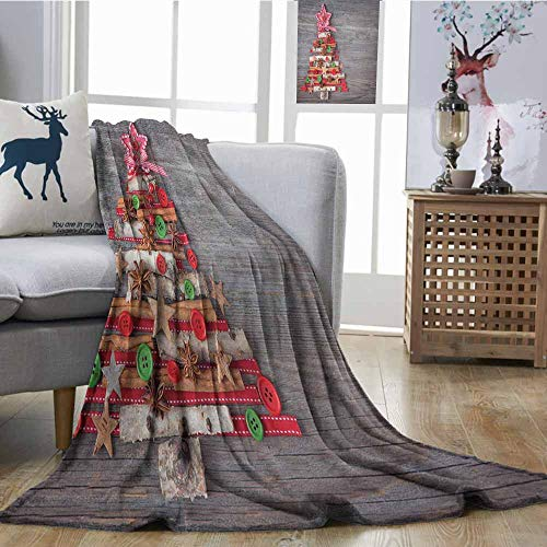 SONGDAYONE Christmas Lightweight Blanket Soft to The Touch Abstract Cloth Style Tree Concept with Buttons Star Tree Topper Wooden Backdrop W54 x L72 Multicolor