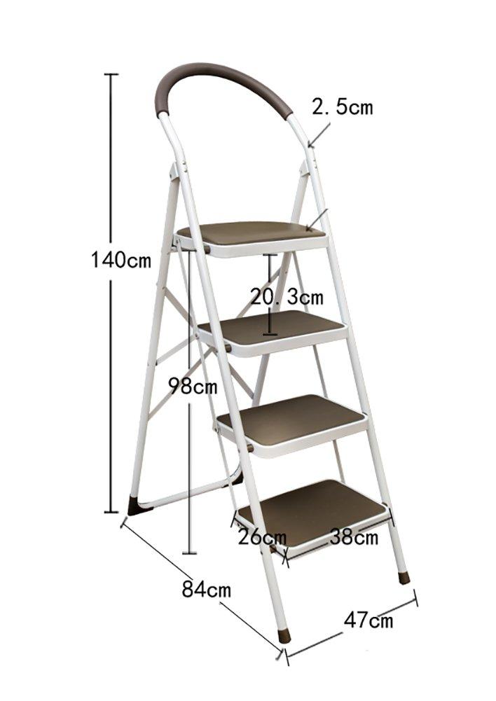 YD-Step stool Step Stool-Stool Chairs Adults Folding Ladder Handle Non-Slip Treads Portable Stepladder/Storage Shelf/Footstool/Flower Rack /&