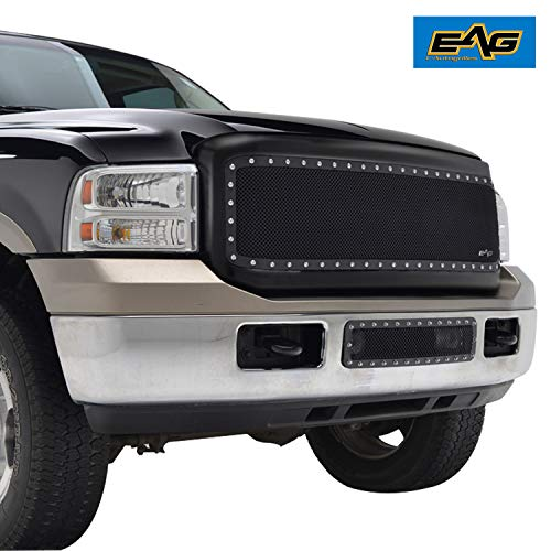 EAG Black Rivet Stainless Steel Wire Mesh Grille with ABS Shell Fit for 05-07 Ford Super Duty F250/F350/F450/F550
