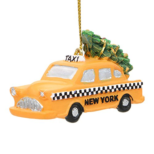 2.75 Inch New York City Yellow Taxi Christmas Ornament with Rockefeller Center Tree on Top -