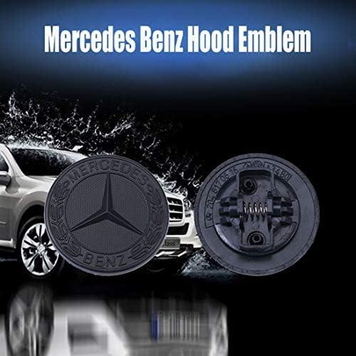 Hood Emblem-Black Autaces 57MM Chrome Benz Logo Flat Hood Star Emblem Badge Compatible with Mercedes Benz C E SL Class Decoration